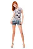 flickaskjortan kortsluter t Royaltyfria Bilder