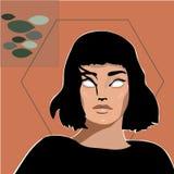 Flickaslogan med flickaillustrationen royaltyfri illustrationer