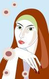 flickasommar stock illustrationer