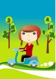 flickasparkcykel Arkivfoton