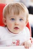 flickastående för blåa ögon arkivbilder