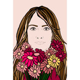 Flickastående med blommabuketten Royaltyfri Fotografi