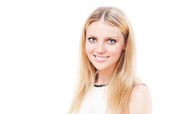 Flickastående på vit Fotografering för Bildbyråer