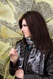 flickaståendeparaply Royaltyfria Bilder