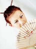 flickaståendesamurai arkivbild