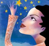 flickastjärnor royaltyfri illustrationer
