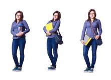 Flickastudenten med böcker på vit Arkivfoto