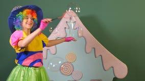 Flickatecknaren låter lyckliga bubblor lager videofilmer