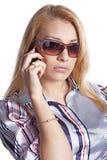 flickatelefonsamtal Arkivbild