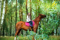 Flickatonåringrullningen på hennes favorit- häst i ett härligt parkerar arkivbild