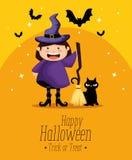 Flickauppklädd som en häxa på halloween stock illustrationer