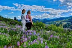 Flickavänner som fotvandrar i full blom för ängar Arkivfoto