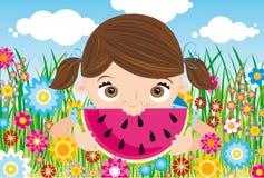 flickavattenmelon stock illustrationer