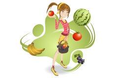 flickavegetarian Arkivbilder