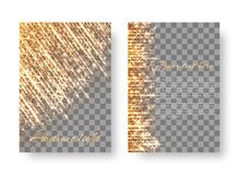 Flickering background with bright particles. Template brochure with gold sparkles for Christmas decorating congratulations Stock Photography