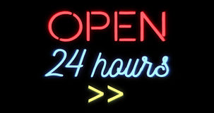 Flickering blinking red and blue neon sign on black background, open shop bar 24 hours sign. Concept Royalty Free Stock Photography
