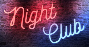 Flickering blinking red and blue neon sign on brick wall background, adult show night club Stock Photos