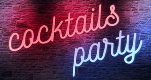 Flickering blinking red and blue neon sign on brick wall background, open cocktails party sign stock video