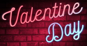 Flickering blinking red and blue neon sign on red love brick wall background with alpha channel matte, valentine day holiday stock video