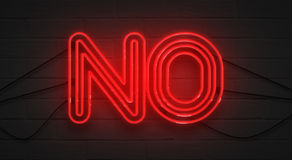 Flickering blinking red neon sign on brick wall background, no negation symbol Stock Photos