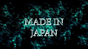 Flickering digital network with `Made in Japan` text. Animation of flickering digital network with appearing `Made in Japan` text. Blue wires and letters on stock illustration