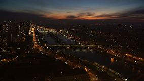 Flickering night Paris from a height. Flickering Paris night from the height of the Eiffel Tower stock footage