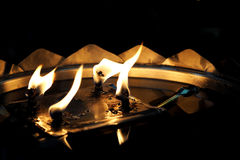 Flickering oil lamp flame Royalty Free Stock Images