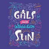 Flickor önskar precis att ha solbokstäver vektor illustrationer
