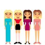 4 flickor royaltyfri illustrationer