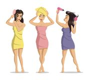 Flickor efter en dusch Omsorg för kvinnaframsidahud Skönhetomsorgvektor Illustration av unga gulliga flickor på vit bakgrund stock illustrationer