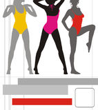 flickor för 1 active royaltyfri illustrationer