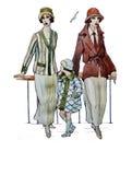 Flickor för klaffen för stil för den Originat vattenfärgen kopplar samman retro retro systrar Arkivfoton