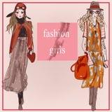 Flickor för modetecknad filmmodell Arkivbild