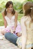 flickor har picknick samtal Arkivfoton