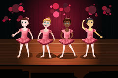 Flickor i en balettkapacitet royaltyfri illustrationer
