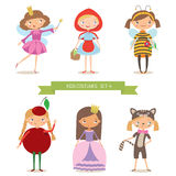 Flickor i olika dräkter för parti eller ferie stock illustrationer