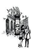 Flickor i Paris nära operan som söker efter riktning royaltyfri illustrationer