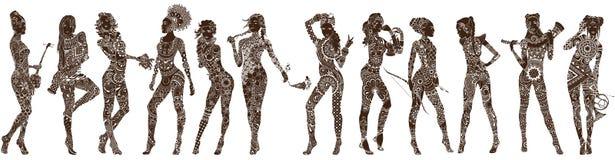 12 flickor i stilen av mehndien stock illustrationer