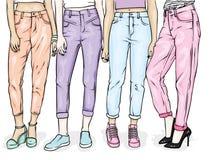 Flickor i stilfull jeans och skor Spenslig kvinnlig fot Vektorillustration för en vykort eller en affisch, tryck för kläder stock illustrationer