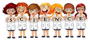 Flickor i vetenskapslag och ordvetenskap vektor illustrationer
