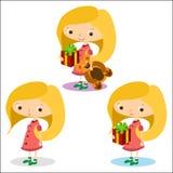 Flickor lycklig 1 Stock Illustrationer