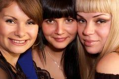 flickor lyckliga tre Royaltyfri Bild