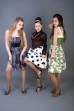 flickor lyckliga tre Royaltyfria Bilder