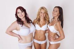 flickor lyckliga tre Arkivbild