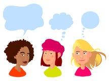flickor lyckliga tre stock illustrationer