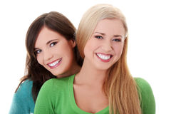flickor lyckliga två Royaltyfri Bild