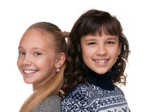 flickor lyckliga två Arkivfoto