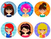 Flickor med exponeringsglas vektor illustrationer