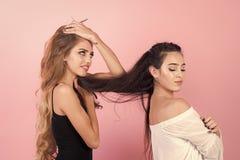 Flickor med långt hår Flickor gör frisyr, förälskelseförbindelse, kamratskap Fotografering för Bildbyråer