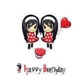 Flickor och gåvor för lycklig födelsedag stock illustrationer